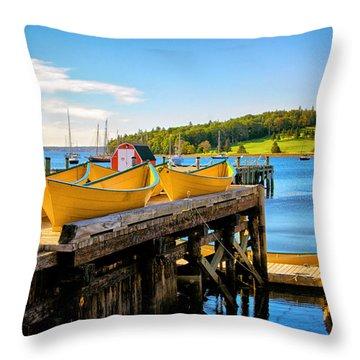 Dories On The Dock Throw Pillow