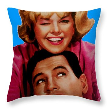 Doris Day Rock Hudson  Throw Pillow by Paul Van Scott
