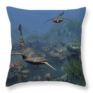 Doryaspis Swim Amongst A Bed Throw Pillow by Walter Myers