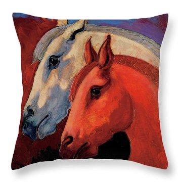 Dos Equus Throw Pillow