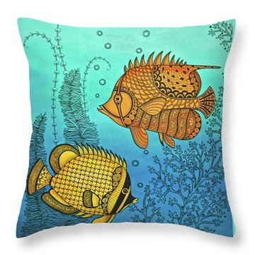 Dos Fishies Throw Pillow