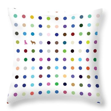Dots And Dogs Throw Pillow