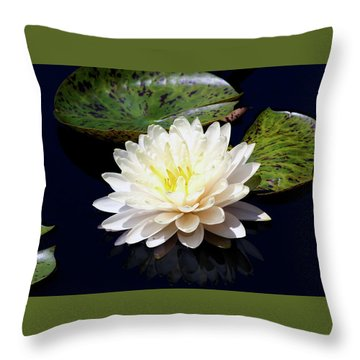 Dotty White Lotus And Lily Pads 0030 Dlw_h_2 Throw Pillow