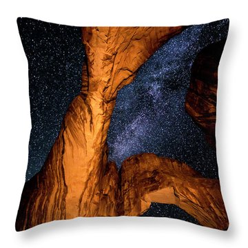 Double Arch And The Milky Way - Utah Throw Pillow by Gary Whitton