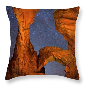 Double Arch At Night Throw Pillow