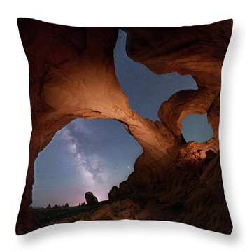 Throw Pillow featuring the digital art Double Arch And The Milky Way - Arches National Park - Moab, Utah 2 by OLena Art Brand