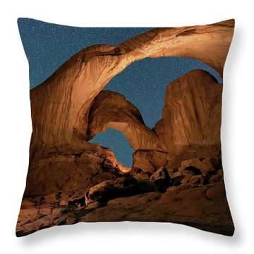Throw Pillow featuring the photograph Double Arch And The Milky Way - Arches National Park - Moab, Utah. by OLena Art Brand