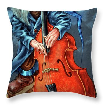 Double Bass And Bench Throw Pillow