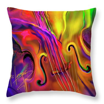 Throw Pillow featuring the painting Double Bass Solo by DC Langer