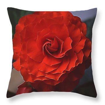 Double Begonia Bloom Throw Pillow