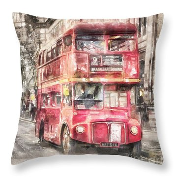 Double-decker Red Bus Of London Throw Pillow by Shirley Stalter
