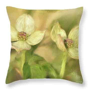 Throw Pillow featuring the digital art Double Dogwood Blossoms In Evening Light by Lois Bryan