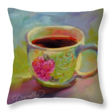 Throw Pillow featuring the painting Double Espresso, Please by Chris Brandley