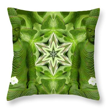 Double Green Buddhas Throw Pillow