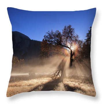 Double Ice Fog Rainbow In Yosemite Valley Throw Pillow