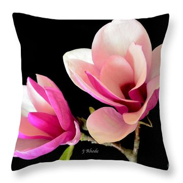 Double Magnolia Blooms Throw Pillow