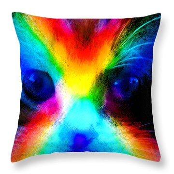 Throw Pillow featuring the painting Double Rainbow Cat by David Lee Thompson