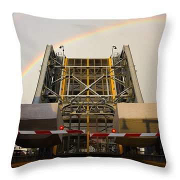 Double Rainbow Mystic Drawbridge Throw Pillow