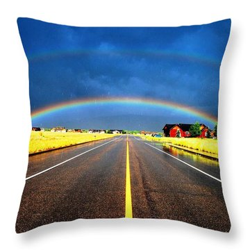 Double Rainbow Over A Road Throw Pillow