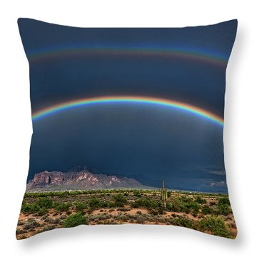 Throw Pillow featuring the photograph Double Rainbow  by Saija Lehtonen
