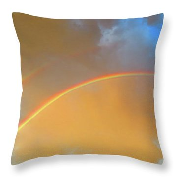 Double Rainbows In The Desert Throw Pillow