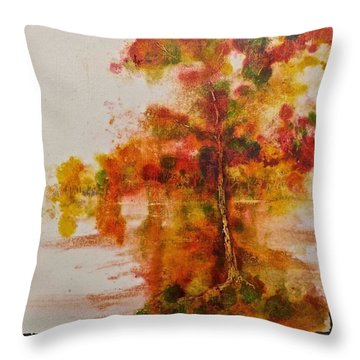 Throw Pillow featuring the painting Double Reflection by Carolyn Rosenberger