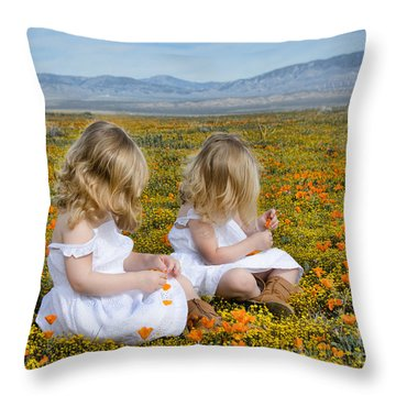 Double Take In A Poppy Field Throw Pillow