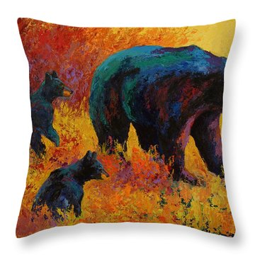 Double Trouble - Black Bear Family Throw Pillow