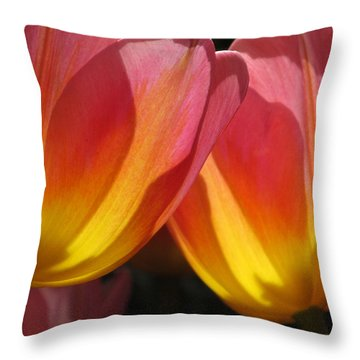 Double Tulips Throw Pillow
