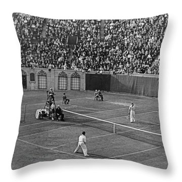 Doubles Tennis At Forest Hills Throw Pillow