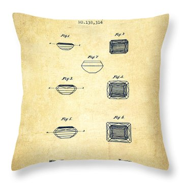 Doublet Stone Patent From 1873 - Vintage Throw Pillow