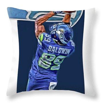Doug Baldwin Seattle Seahawks Oil Art 3 Throw Pillow