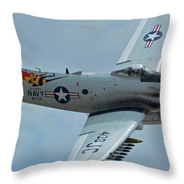 Throw Pillow featuring the photograph Douglas A-1d Skyraider Nx409z Chino California April 30 2016 by Brian Lockett
