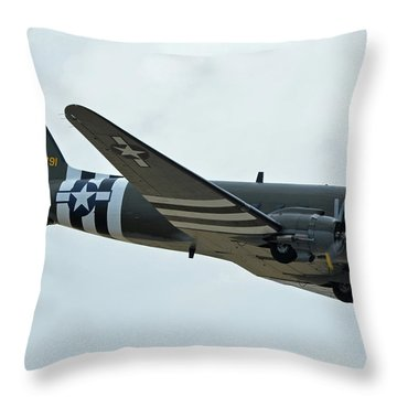 Throw Pillow featuring the photograph Douglas C-47b Dakota N791hh Willa Dean Chino California April 30 2016 by Brian Lockett