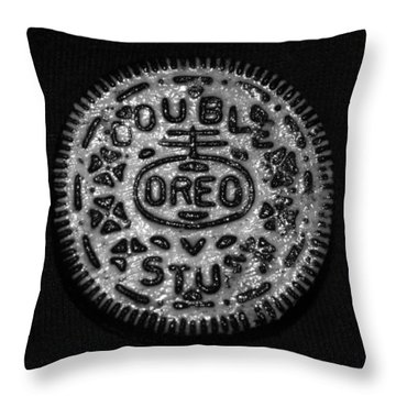 Doulble Stuff Oreo In Black And White Throw Pillow by Rob Hans
