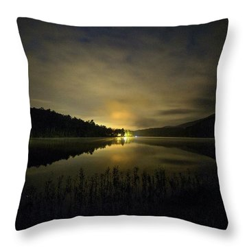 Throw Pillow featuring the photograph Douthat Lake Night by Alan Raasch