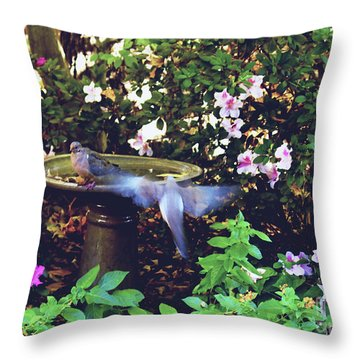 Dove In Flight Throw Pillow by Debra Crank