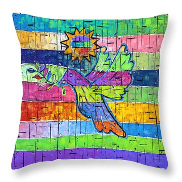 Dove Of Peace, Color And Light Throw Pillow by Jeremy Aiyadurai