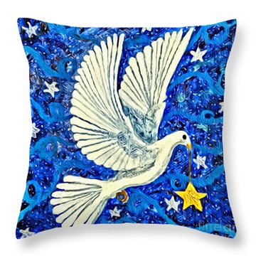 Dove With Star Throw Pillow