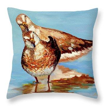 Dowitcher Birds Throw Pillow