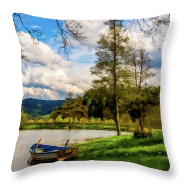 Down By The Lake Photodigitalpainting Throw Pillow by David Dehner