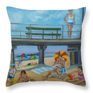 Down By The Seashore In Ocean Grove, N.j. Throw Pillow