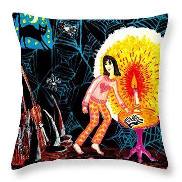 Down In The Cellar Throw Pillow by Sushila Burgess