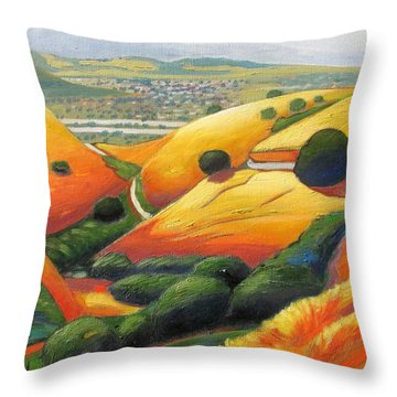 Throw Pillow featuring the painting Down Metcalf Road by Gary Coleman