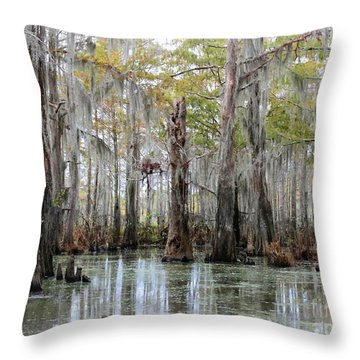 Down On The Bayou - Digital Painting Throw Pillow by Carol Groenen