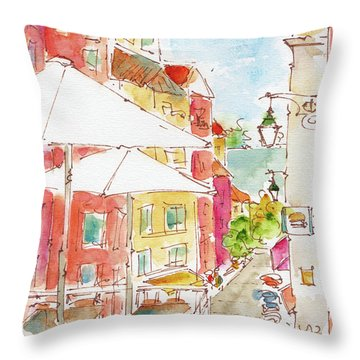Throw Pillow featuring the painting Down Rua Serpa Pinto Lisbon by Pat Katz