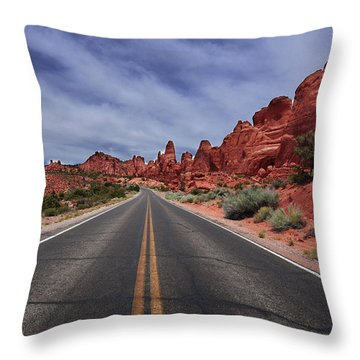 Down The Open Road Throw Pillow