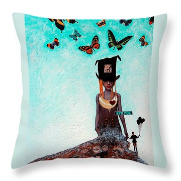 Down The Rabbit Hole Throw Pillow by Sharon Cummings
