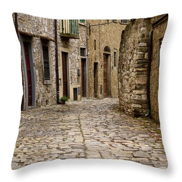 Down The Road In Montefiorella Throw Pillow by Rae Tucker