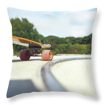 Throw Pillow featuring the photograph Down The Skatepark by Will Gudgeon